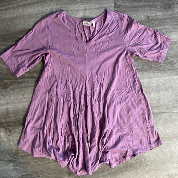 LOGO light purple Tunic length blouse